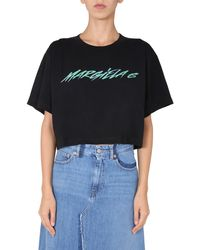 MM6 by Maison Martin Margiela - T-SHIRT CROPPED IN JERSEY DI COTONE CON LOGO - Lyst