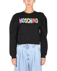 Moschino Crew Neck Cotton Sweatshirt With Logo Print - Black