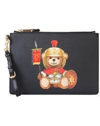 Moschino Roman Teddy Bear Pouch With Logo Patch - Black