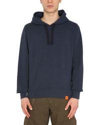 Aspesi Cotton Hooded Sweatshirt With Logo Patch - Blue