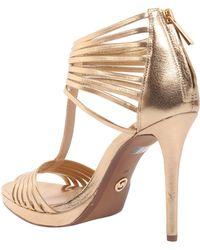 MICHAEL Michael Kors - Leann Sandals In Metallic Leather - Lyst