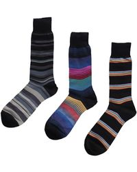 Paul Smith Set Of Three Pairs Of Mixed Cotton Socks - Blue