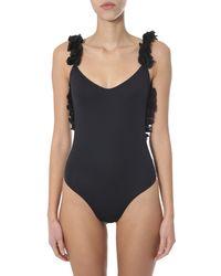 LaRevêche Nabila One-piece Swimsuit With Flowers - Black