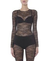 RED Valentino Long Sleeve Body In Jersey Lace - Black