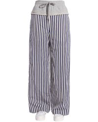 T By Alexander Wang Striped Wide Leg Trousers With Cotton Gauze Insert - Grey