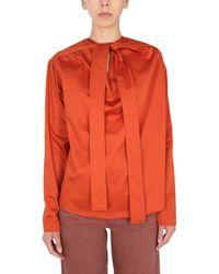 Lemaire Camicia In Cotone Con Colletto A Cravatta - Orange