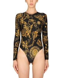 Versace Jeans Couture Long Sleeve Bodycon With Bijoux Baroque Print - Black