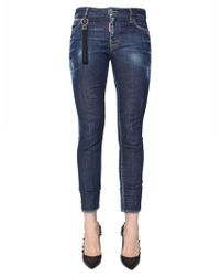 DSquared² Straight Cropped Runway Jeans In Denim Stretch - Blue