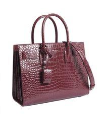 030f5127bbb8 Saint Laurent - Classic Baby Sac De Jour Bag In Crocodile Embossed Leather  - Lyst
