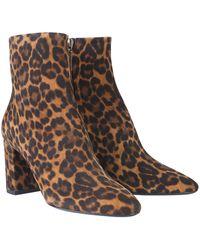Saint Laurent Classic Ankle Boots Lou 75 Suede Lion Print Leopard - Brown