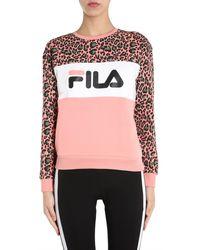 "Fila ""leah Aop"" Round Neck Sweatshirt With Animal Print - Pink"