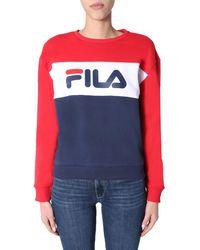 """Fila """"leah"""" Crew Neck Colour Block Cotton Sweatshirt With Logo - Blue"""
