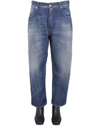 MM6 by Maison Martin Margiela High Waist Cotton Denim Curved Jeans - Blue