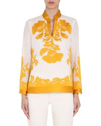 """Tory Burch """"appliqué Tunic"""" Embroidered Cotton Shirt - White"""