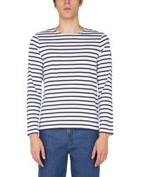 "Saint James ""minquiers Modern"" Striped Cotton T-shirt - Blue"