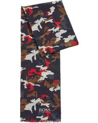 BOSS by Hugo Boss Modal And Cotton Scarf With Camouflage Print - Blue