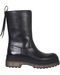 RED V Leather Boots With Combat Sole - Black