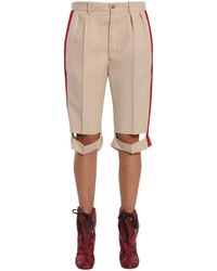 Maison Margiela Wool Blend Bermuda Shorts With Side Bands - Natural