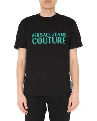 Versace Jeans Couture Round Neck Cotton T-shirt With Rubberized Logo - Black