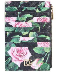 Dolce & Gabbana Vertical Calfskin Credit Card Holder With Floral Printe - Black