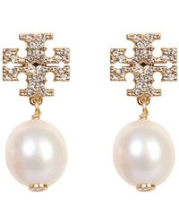 Tory Burch Kira Brass And Swarovski Crystals Earrings With Pearl - White