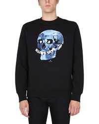 PS by Paul Smith Floral Skull Organic Cotton Printed Sweatshirt With Logo - Black