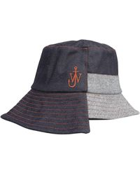 JW Anderson Asymmetric Bucket Hat With Laces - Blue