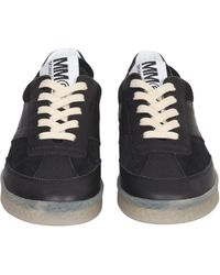 MM6 by Maison Martin Margiela Replica Leather Sneakers - Black
