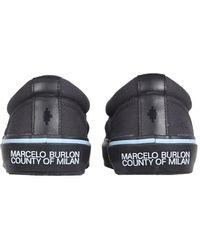 Marcelo Burlon Vulcanized Cotton Slip-on With Feathers Print - Black