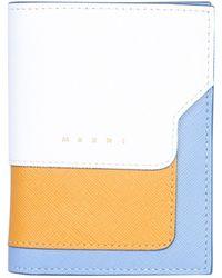 Marni Tricolored Bifold Saffiano Leather Wallet - White