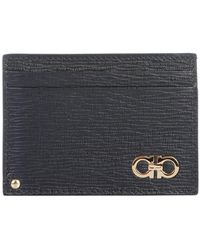Ferragamo Gancini Leather Card Holder - Black