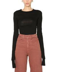 Lemaire T-shirt Slim Fit Con Manica Lunga - Black