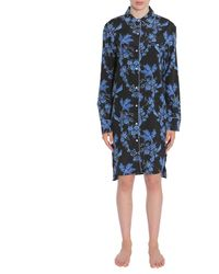 "Stella McCartney ""poppy Snoozing"" Floral Printed Crêpe De Chine Shirt - Blue"