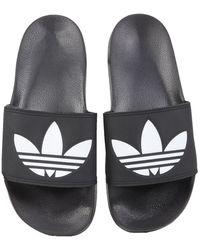 adidas Originals Slide Sandals With Rubber Logo - Black