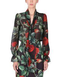 Dolce & Gabbana CAMICIA IN CHIFFON DI SETA CON STAMPA ROSE - Multicolore