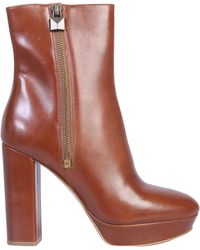 """MICHAEL Michael Kors """"frenchie"""" Leather Boot With Plateau - Brown"""