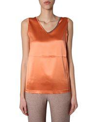 Fabiana Filippi V-neck Silk Satin Tank Top - Orange