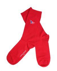Maison Kitsuné Long Cotton Blend Socks With Iconic Fox Patch - Red