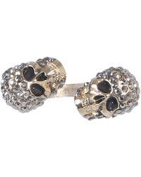 Alexander McQueen Twin Skull Brass Ring - Gray