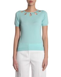 Boutique Moschino - Short Sleeve Jumper With Drop Detail Around The Collar - Lyst