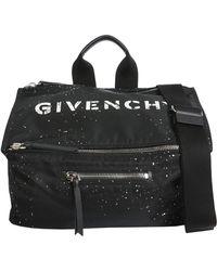 Givenchy BORSA MESSENGER PANDORA IN TESSUTO TECNICO ON SCHIZZI DI VERNICE - Nero
