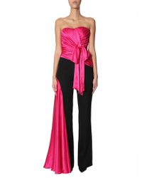 Moschino Cool Wool Jumpsuit With Silk-draped Inserts - Black