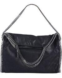 Stella McCartney Falabella Fold Over Tote Bag In SHAGGY Deer - Black