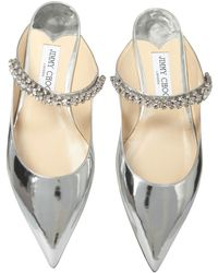 Jimmy Choo Mirrored Leather Bing Sandals With Crystals - Metallic