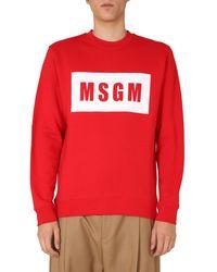 MSGM Cotton Crew Neck Sweatshirt With Logo Box - Red