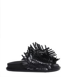 MM6 by Maison Martin Margiela - Woven Leather Slide Sandals - Lyst