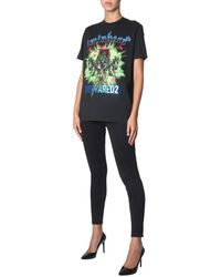 DSquared² T-SHIRT GIROCOLLO IN COTONE CON STAMPA - Nero