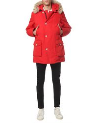 """Woolrich """"arctic"""" Water-repellent Parka With Fur Edged Hood - Red"""