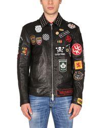 "DSquared² ""full Patch"" Leather Biker Jacket - Black"