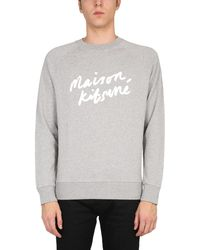 Maison Kitsuné Crew Neck Cotton Sweatshirt With Logo - Grey